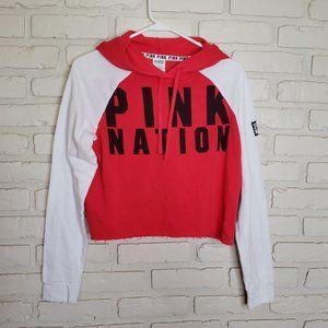 VS PINK Cropped Raw Hem Sweatshirt Hoodie